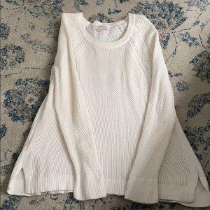 LOFT Cream Waffle Knit Sweater